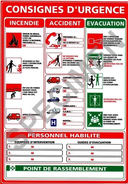 Consignes d 39 urgence a3 for Alarme incendie obligatoire maison